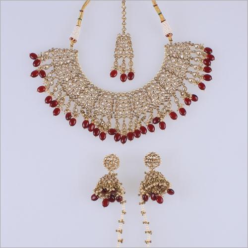 Reverse AD Mehendi Necklace Set