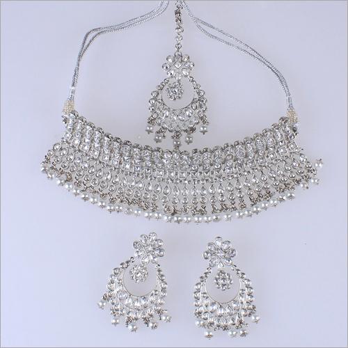 Ladies Reverse AD Rhodium Necklace Set