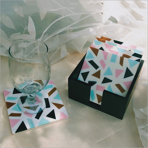 Coasters Pink Blue-sq Set Of 6 With Stand