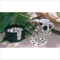 Coasters Yellow-black-round Set Of 6 With Stand