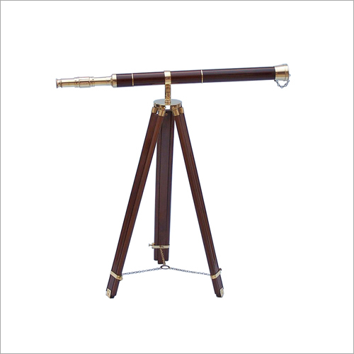 32x25 Admirals Floor Standing Brass With Wood Telescope