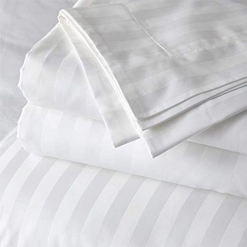 White Satin Stripe Bedsheet