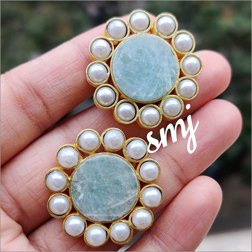 Natural Uncut Druzy Stone Studs With Mother of Pearls