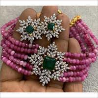 Onyx Beads Choker Set With Ad Stones