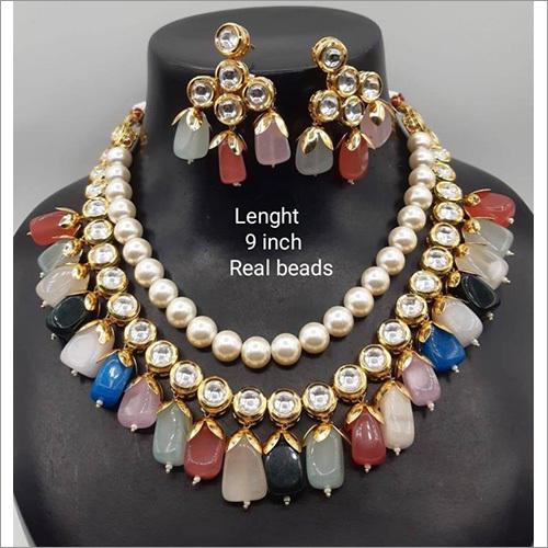 9 Inch Real Beads Kundan Set