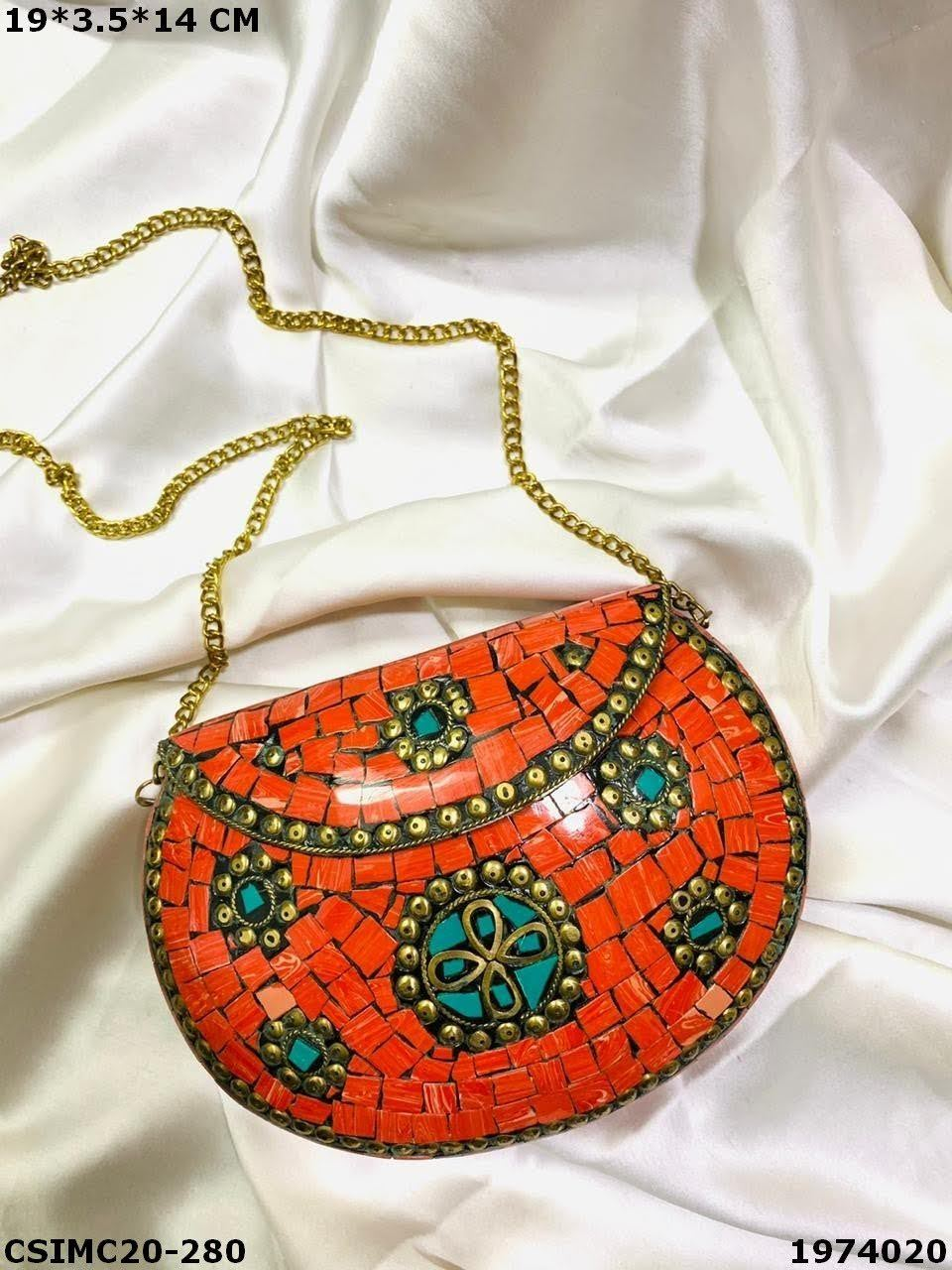 Trendy Metal Mosaic Clutches