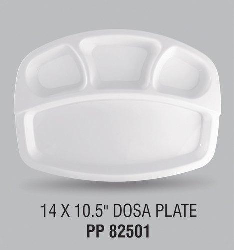White Square Plastic Dosa Plate 14x10.5 Inches