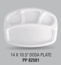 White Square Plastic Dosa Plate 14x10.5 Inches
