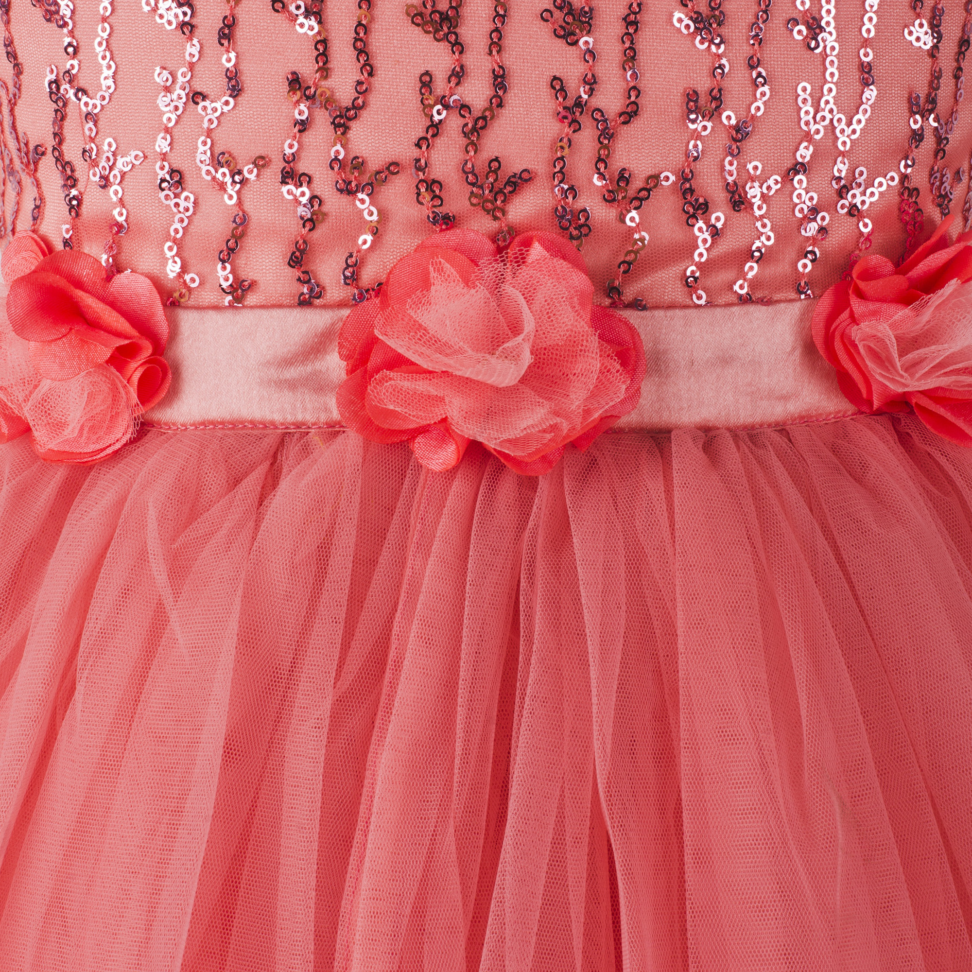 Toy Balloon Kids Girls Party wear Peach Sequins Frock