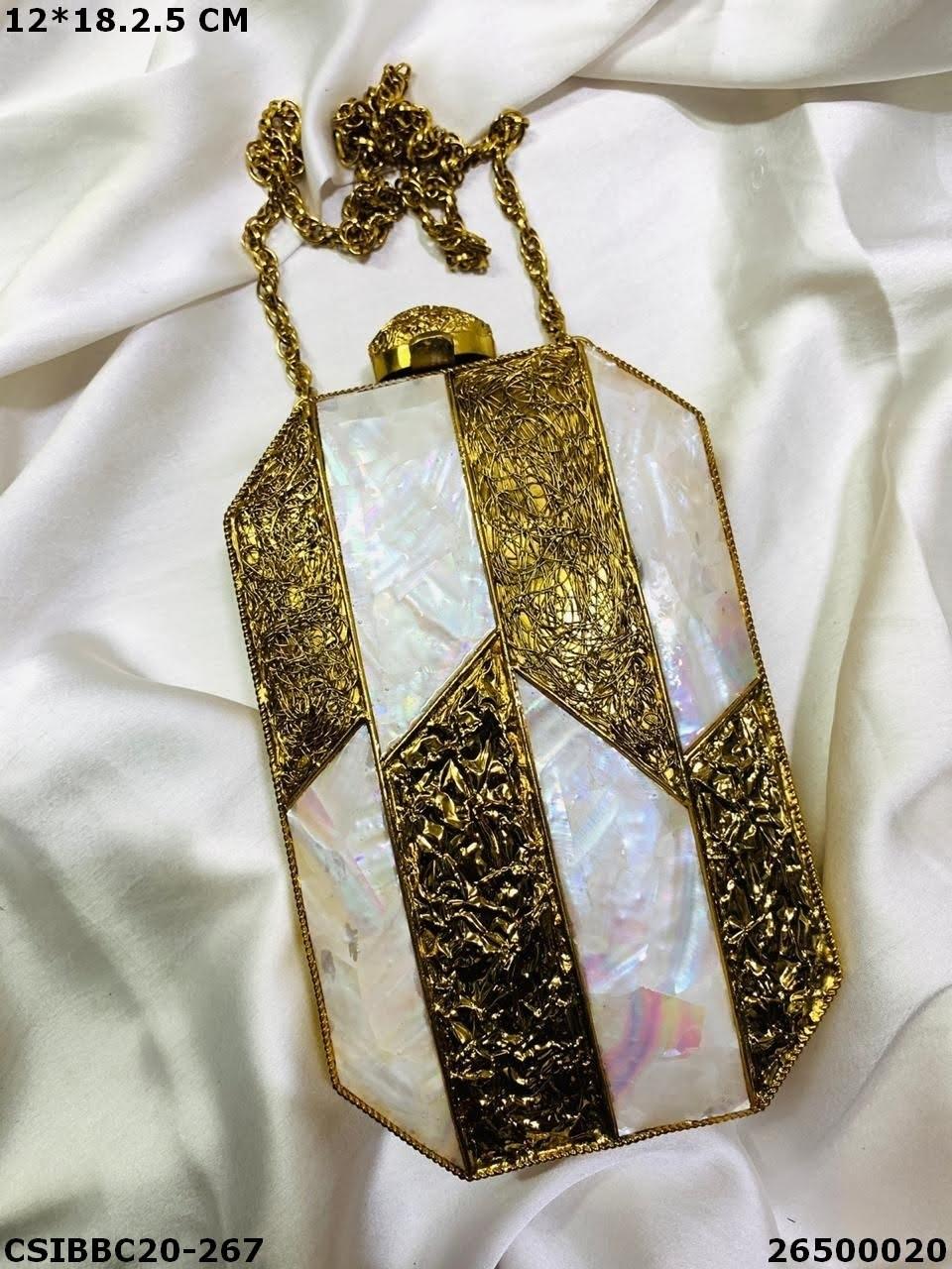 Designer Brass MOP Clutches