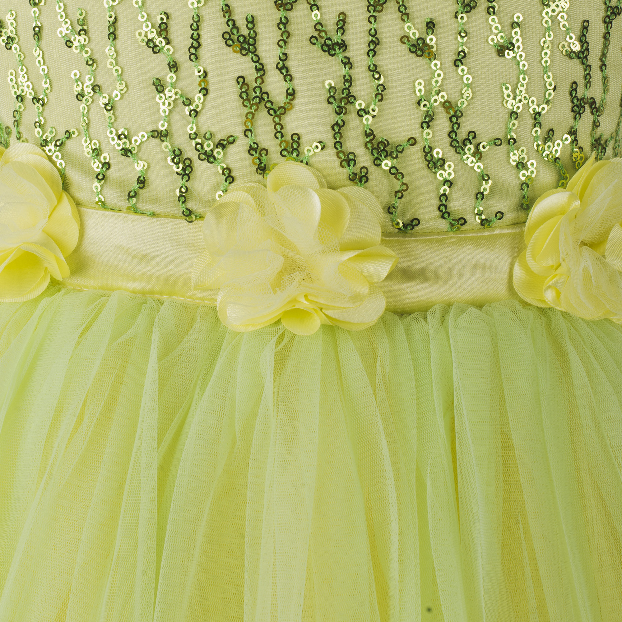 Kids sequence embellished Yellow party wear frock