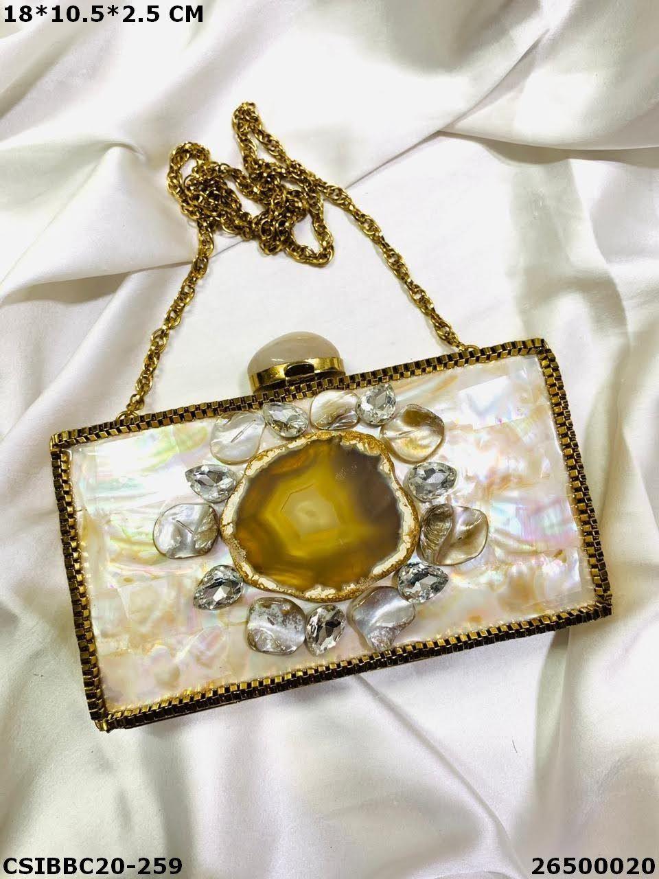 Bridal Brass MOP Clutches