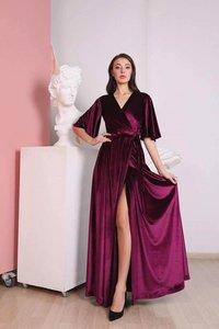 Velvet Long Dress with Flutter Long Sleeves | Bridesmaid Wrap Maxi Dress | Manufacturer