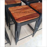 Cafe Dining Stools With Solid Wood Seat
