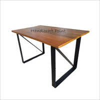 Metal Powder Coated Table With Solid Wood Top