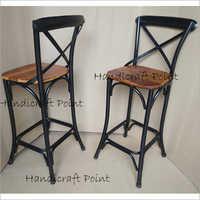 Metal Solid Wood Bar Chair