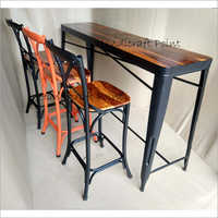 Solid Wood And Metal Bar Set