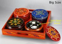 Wooden Handicraft Tray With 4 Bowls