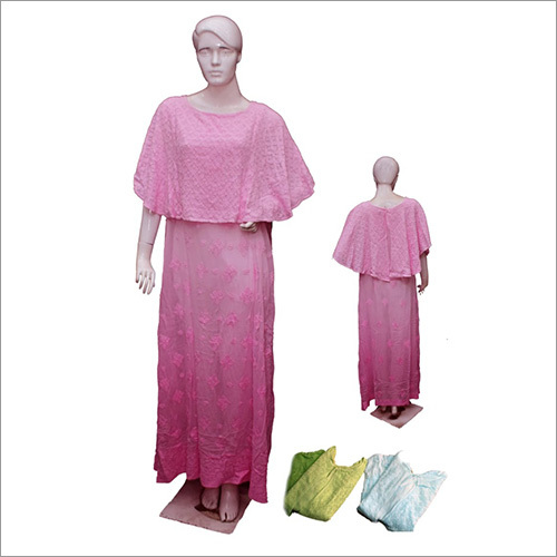Chikan Viscose Poncho Gown