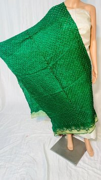 PURE TUSSAR SILK BANDHNI LONG 2.5 MTRS DUPATTA WITH CUT WORK .