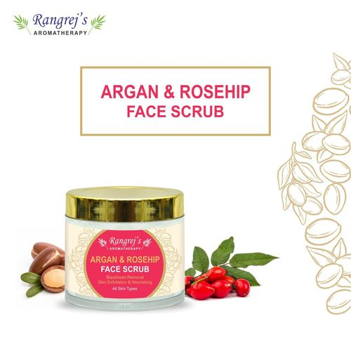 Rangrej's Aromatherapy Argan & Rosehip Face Scrub for Radiant Glowing Skin For All Skin Type and for Men & Women (100ml)