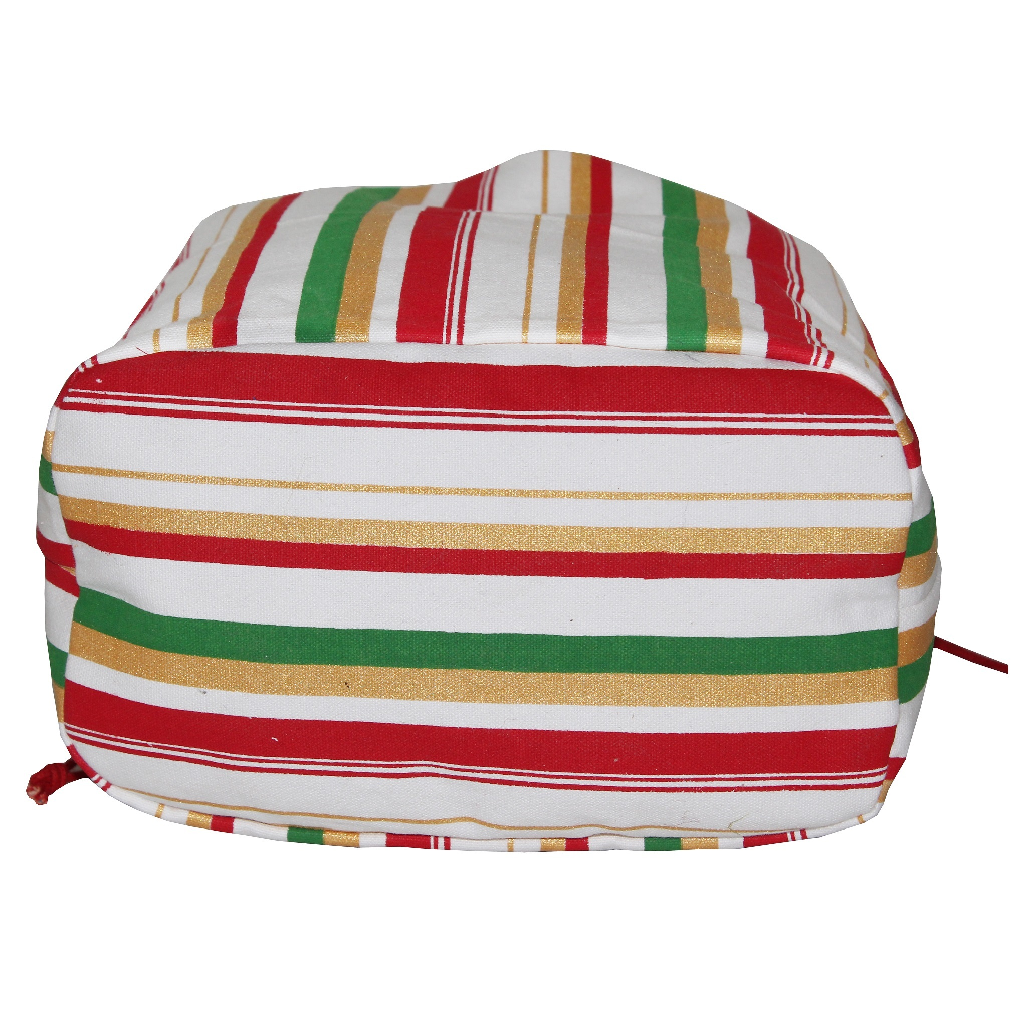 Canvas Fabric Pouch With Striped Print