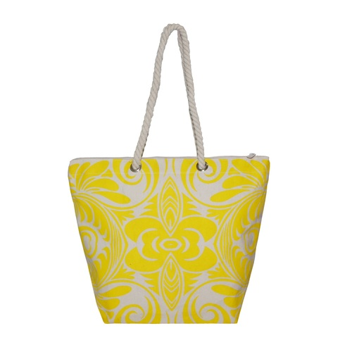12 Oz Natural Canvas Tote Bag With Twisted Rope Handle & With Zip Closure