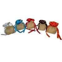 Jute Drawstring Gift Pouch With Jamawar Silk Inner Lining & Polysilk Drawstring