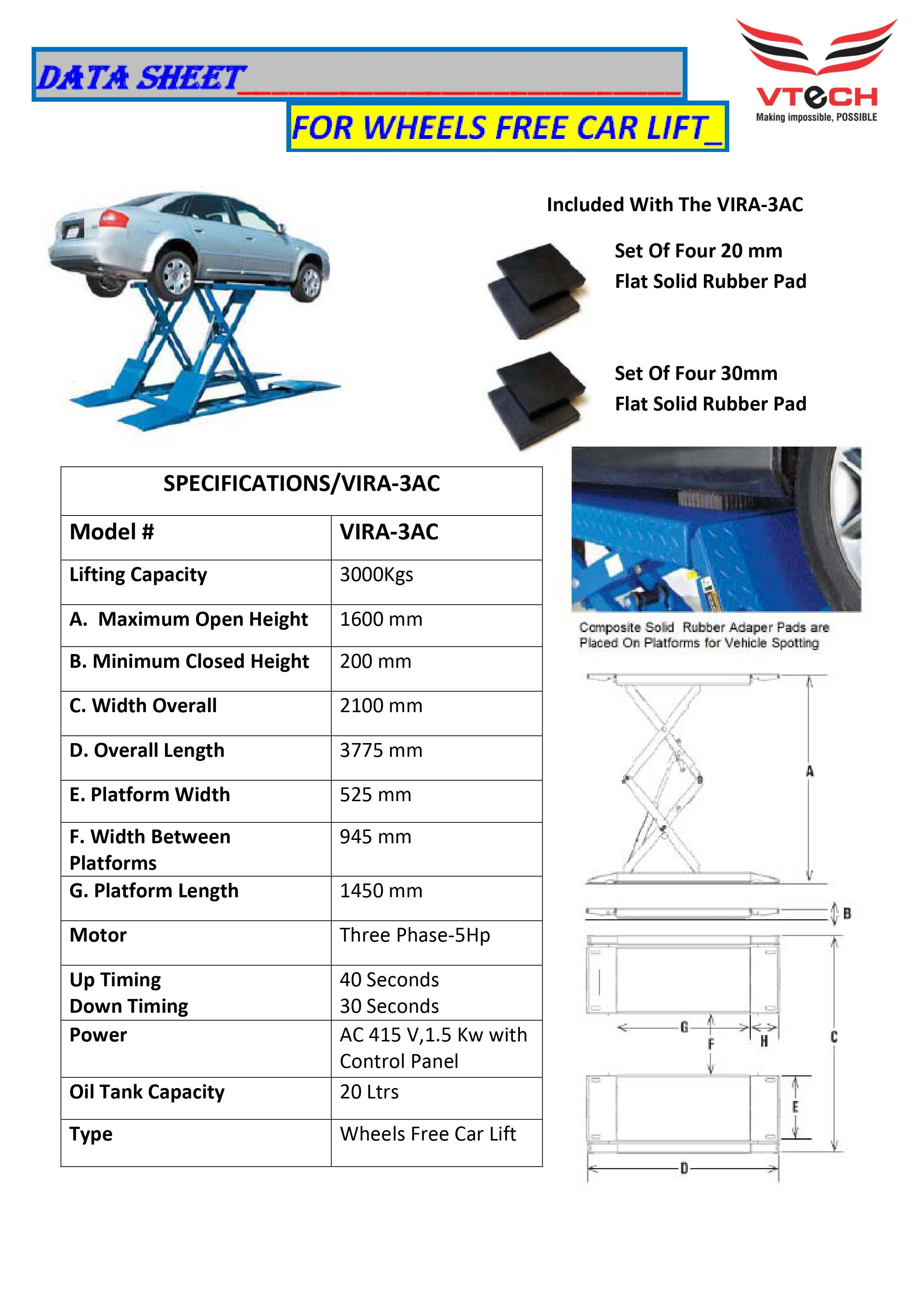 Car Lift (Wheels Free Scissor Lift)