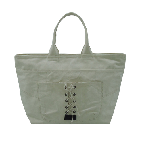 20 Oz Natural Canvas Tote Bag With Zip Closure & Outside Pocket