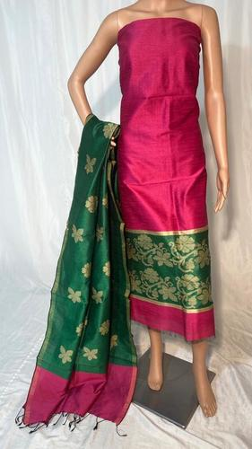 BEAUTIFULL POLY DUPION RAW SILK KURTI , DUPATTA SET 2.5 MTRS EACH (NO BOTTOM)