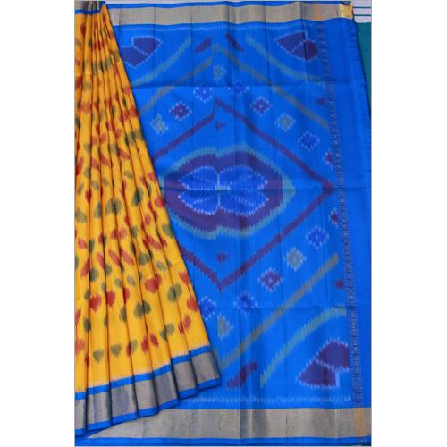 Gold Skyblue Pochampalli Soft Silk