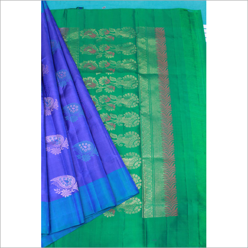 Blue Putta Fancy Soft Silk Saree