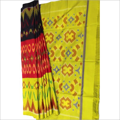Black Orange Green Pochampalli Soft Silk