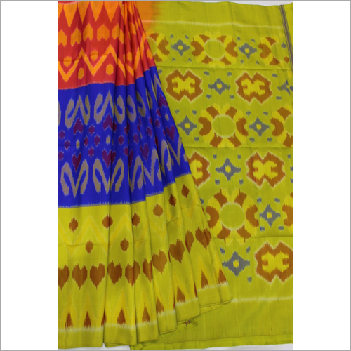 Orange Blue Green Pochampalli Soft Silk