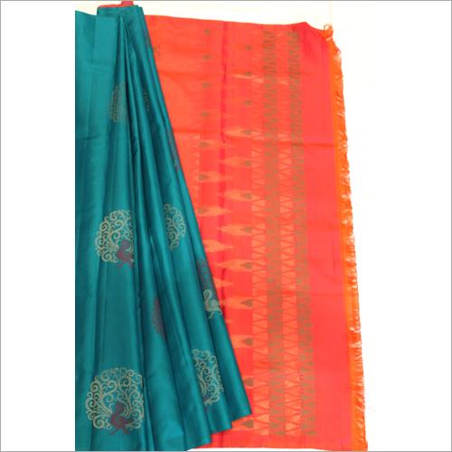 Green N Orange Mayil Pattu Soft Silk