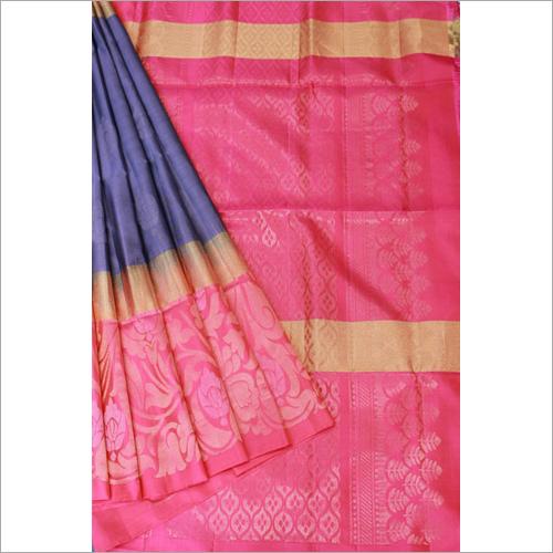 Grey Rose Orange Contrast Soft Silk
