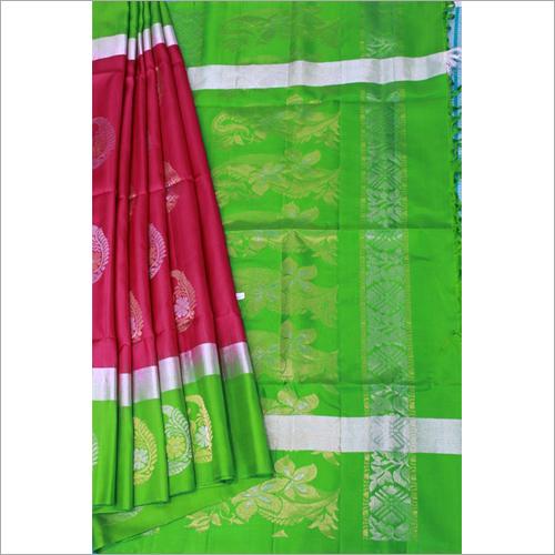 Maroon Green Contrast Putta Soft Silk