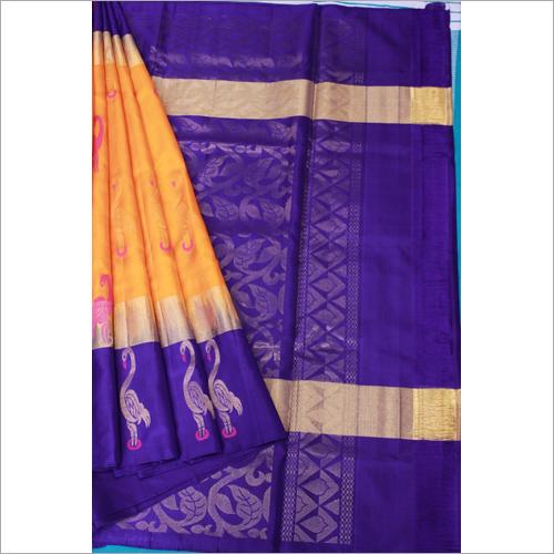 Orange Gold Blue Pattu Soft Silk