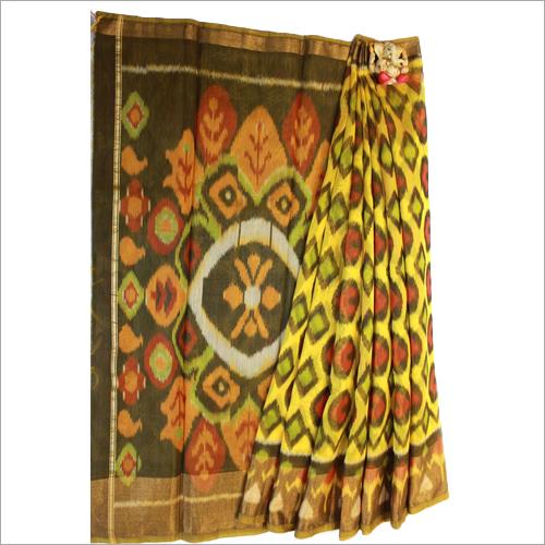 Yellow And Green Pochampalli Kotta Cotton Saree