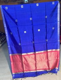 PURE DUPION RAW SILK HANDLOOM SAREE , WITH ALL OVER BOX WOVEN , JARI WOVEN PALLU .
