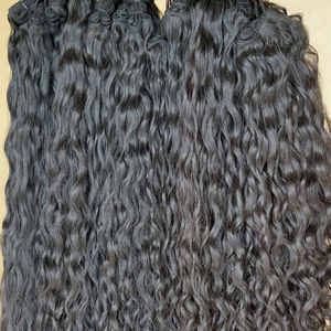 Long Wavy Indian Human Hair Extensions With Temple Human Hair
