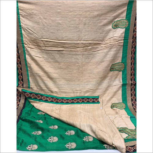 Ladies Pure Gheecha Silk Aplic Work Saree