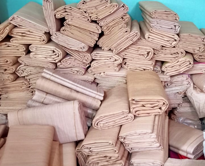 Coloured Tussar Silk Raw Fabric