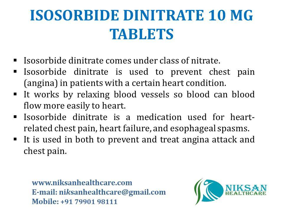 ISOSORBIDE DINITRATE 10 MG TABLETS