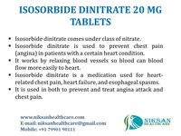 ISOSORBIDE DINITRATE 20 MG TABLETS