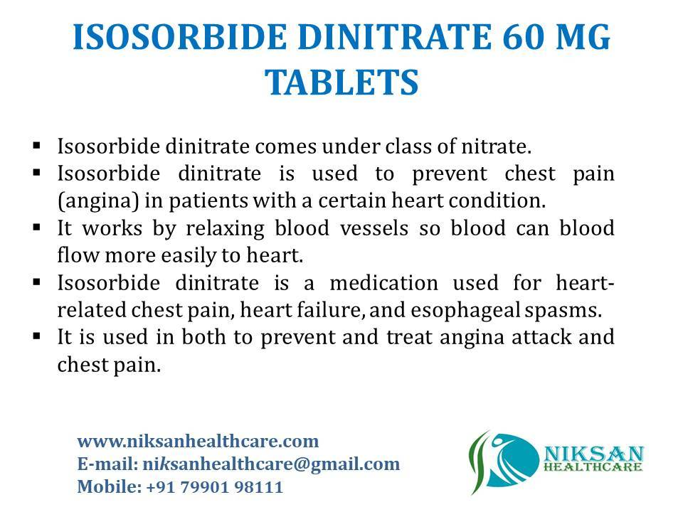 ISOSORBIDE DINITRATE 60 MG TABLETS