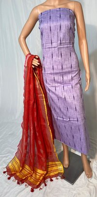 PURE LINEN BY LINEN DOBBY WEAVING LONG DUPATTA WITH IKKAT TOP 2.5 MTRS .
