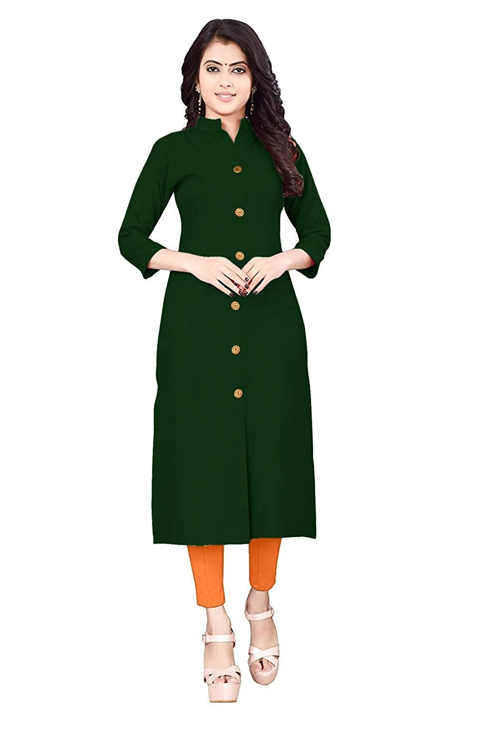 Women cotton solid kurta