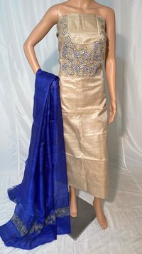 PURE TUSSAR SILK CUT WORK TOP 2.5 MTRS , WITH PURE TUSSAR SILK LONG 2.5 MTRS DUPATTA WITH CUT WORK .
